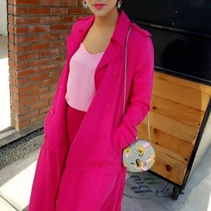 NEW ZARA PINK LONG MAXI FLOWY TRENCH COAT S
